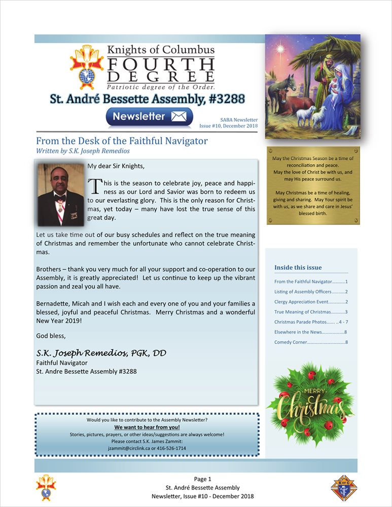 St. André Bessette Assembly Newsletter